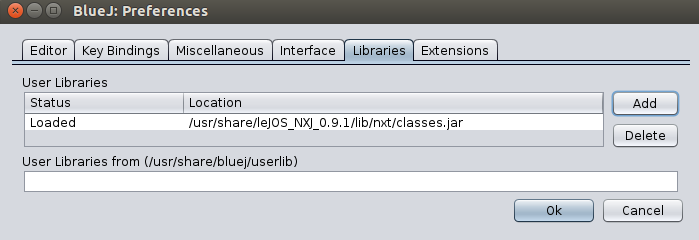 Screenshot: BlueJ leJOS-NXT-Plugin: Libraries-Tab