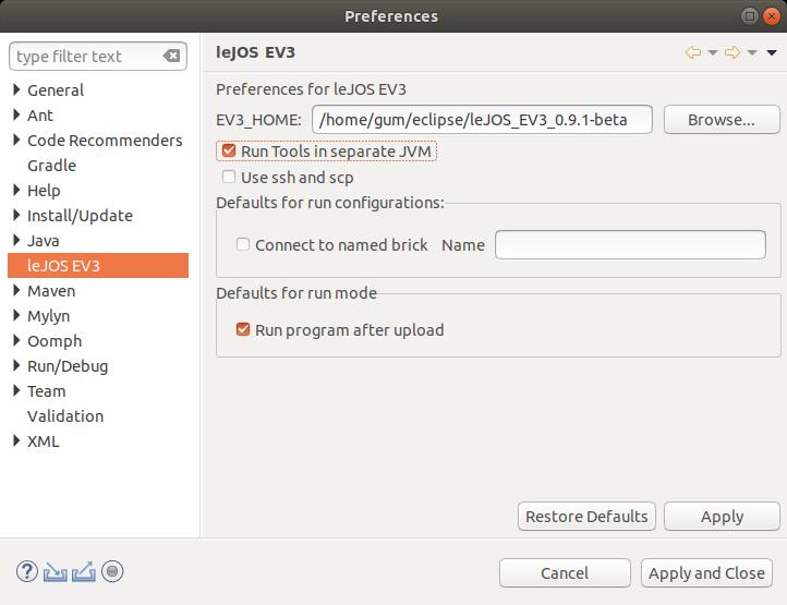 Konfiguration des leJOS-EV3-Plugin für Eclipse