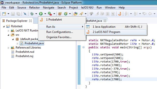 Kommunikation mit dem NXT via NXJ-Plugin in Eclipse