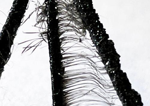Zwischen zwei vertikalen Plastikelementen viele horizontale dünne Plastikfäden