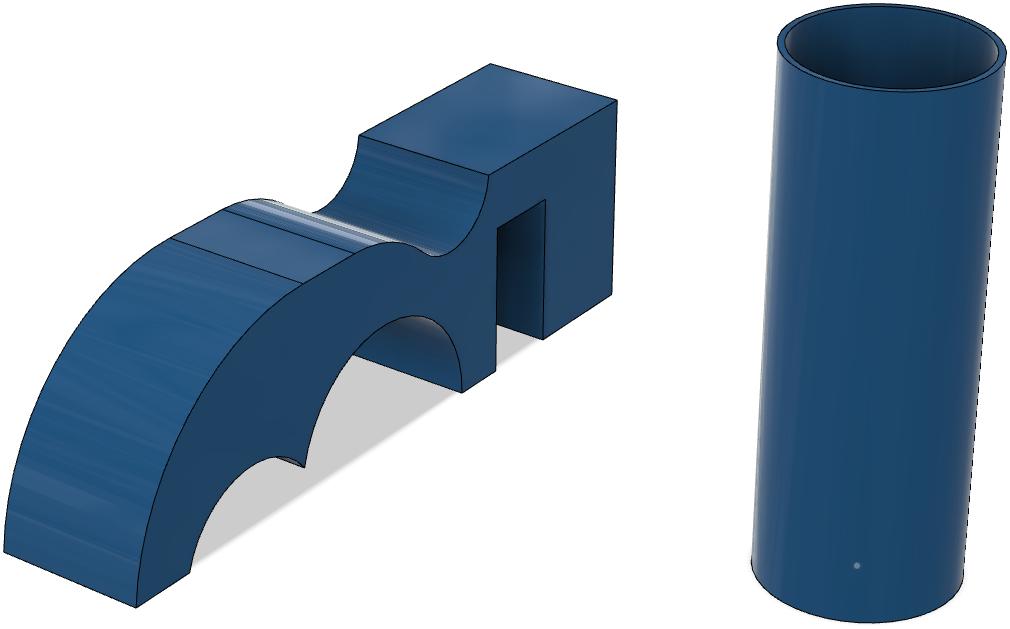 Körper 2a mit mehreren Überhängen und Körper 2c als hohler Zylinger