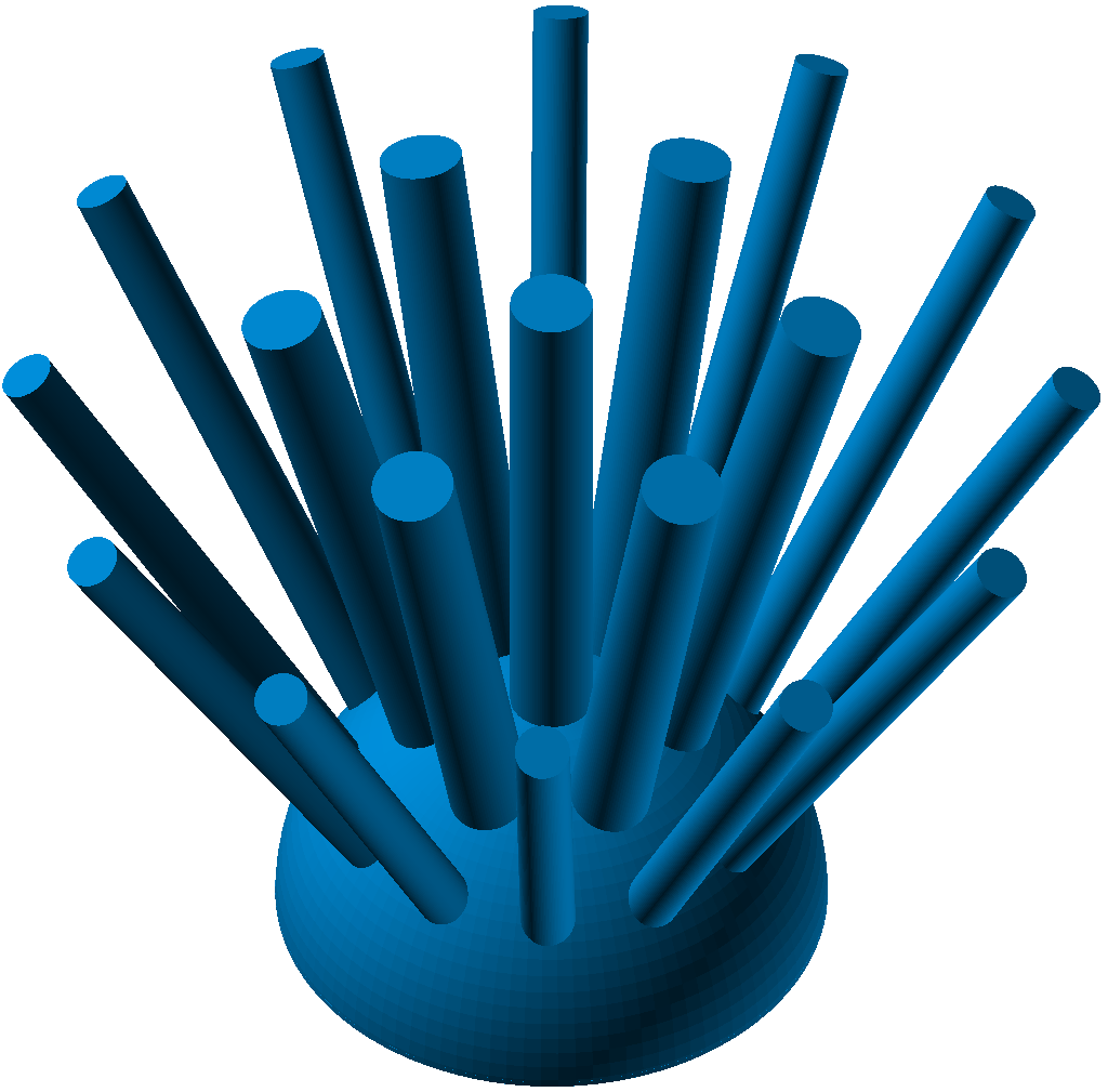 Zwei Halbkugelschalen ineinander mit Stiften (Zylindern)