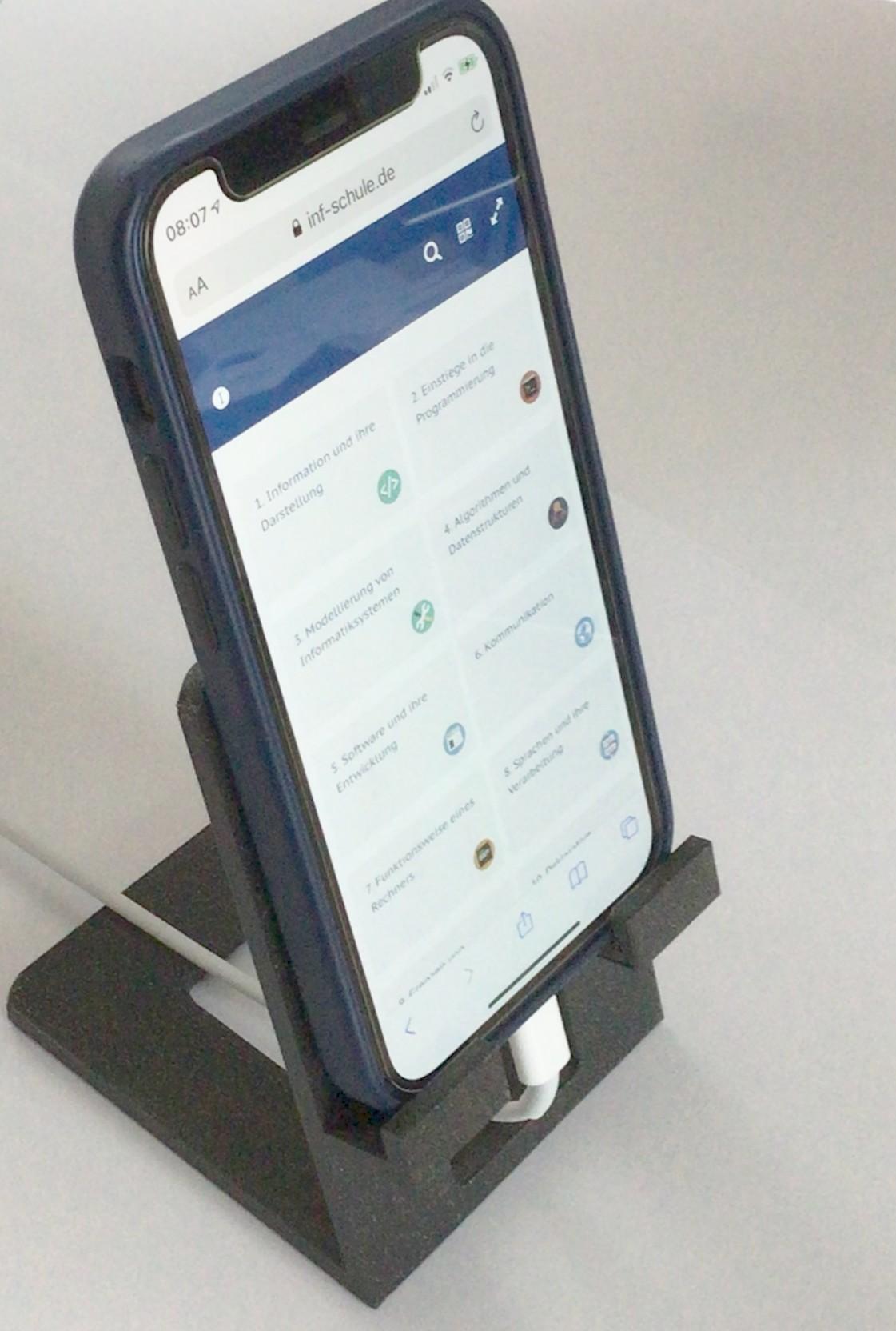 Ständer für ein schräg stehendes Smartphone