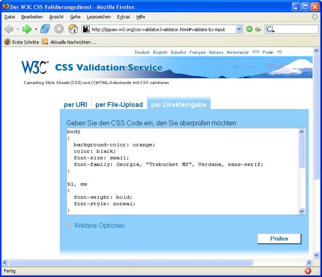 Validierung einer CSS-Datei
