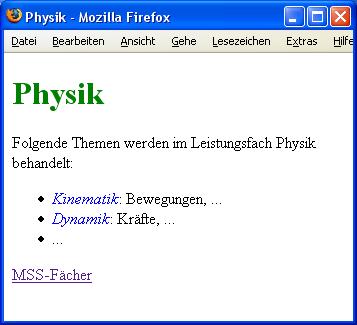 Webseite zum Fach Physik