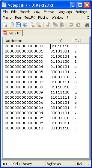 Binärdarstellung zum Text im Ansi-Format