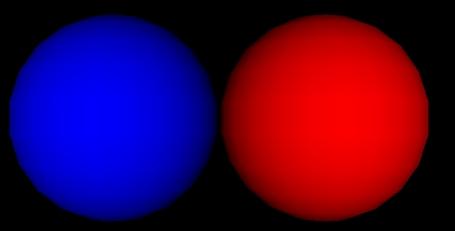 Blaue und rote Kugel