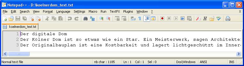 Kölner Dom - Format Text