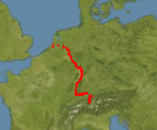 Verlauf des Rheins durch die Orte sichtbar gemacht