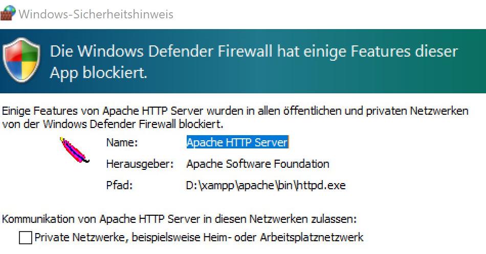 Screenshot Windows Firewall