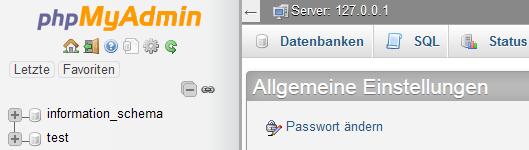 Webterra mit leerem Datenbankverzeichnis