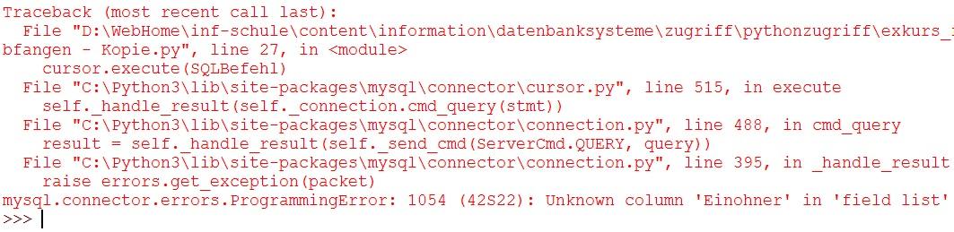 Programm mit Fehler im SQL-Befehl