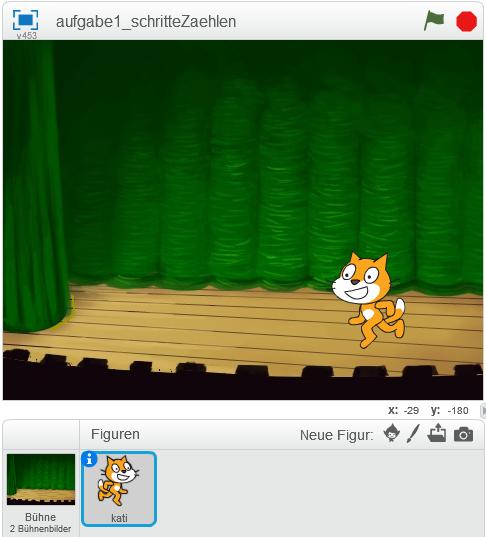 Katze steht auf Theaterbühne